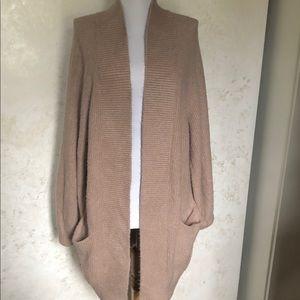 Leith Tan Open Front Long Cardigan Sweater SZ S